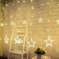 LAIMAIK 2 메터 크리스마스 문자열 빛 AC220V EU 로맨틱 요정 스타 커튼 문자열 빛 파티 웨딩 화환 조명