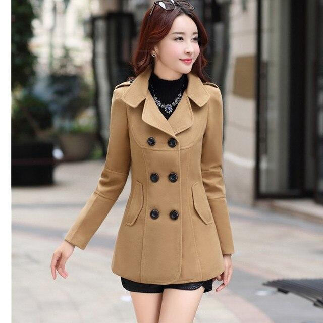 UHYTGF Fashion Winter Jacket Women's Double Breasted Short Wool coat Solid Color Korean Slim Female Woolen Jacket Plus Size 1150 6