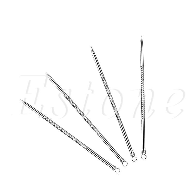 1Set 4Pcs 8CM Blackhead Comedone Remover Acne Blemish Pimple Extractor Tool Pro