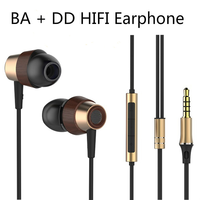 OKCSC Wood Hybrid In Ear Earphone Driver BA With DD HIFI Music DJ Earbuds Double Unit In Ear Headset Earbuds with Mic and Volume 2016 senfer 4in1 ba with dd in ear earphone mmcx headset with upgrade cable silver cable hifi earbuds