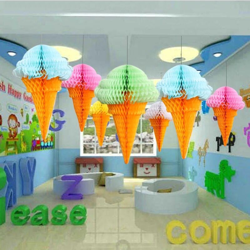 Paper Lanterns Wedding Decoration Ideas: 10pcs Ice Cream Honeycomb Balls Paper Lanterns Wedding