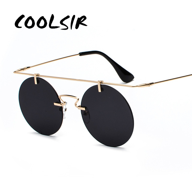 COOLSIR Fashion Men Women Brand Designer Glasses Classic Round Rimless Steampunk Sunglasses Vintage Eyewear Top Quality UV400 in Men 39 s Sunglasses from Apparel Accessories