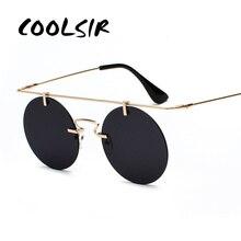 COOLSIR Fashion Men Women Brand Designer Glasses Classic Round Rimless Steampunk Sunglasses Vintage Eyewear Top Quality UV400