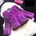 Gradiente de cor natural raccoon dog fur coats mulheres outono inverno 2017 nova verdadeiro casaco de pele de design curto outerwear das mulheres jaqueta