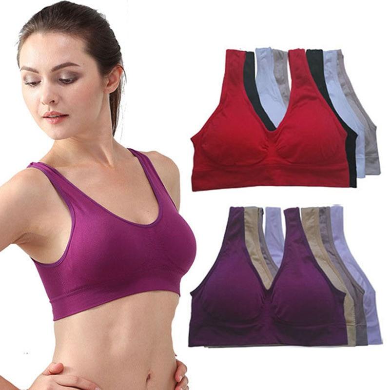 NEW Womens Sport Bra Fitness Yoga Running Vest Underwear Padded Crop Tops Underwear 7 Colors No Wire-rim Bras Female