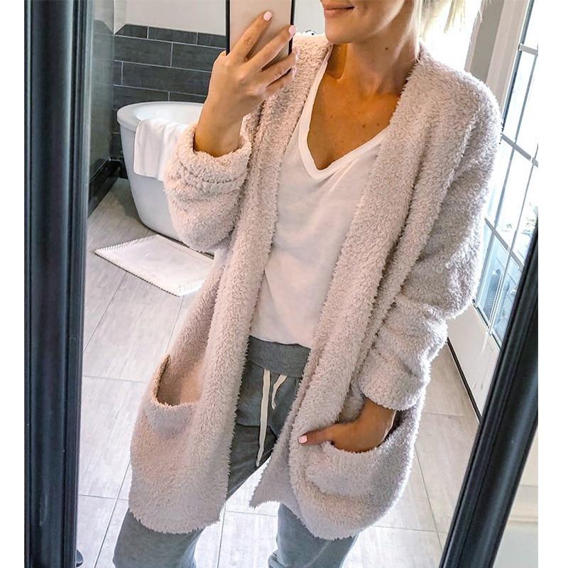 Mode Herbst Kleidung Öffnen Stich Beiläufige Lose Mantel Komfortable Fleece Lange Jacke Frauen Oberbekleidung Herbst Schwarz Weiße Dünne Mäntel