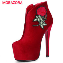 MORAZORA big size sexy super high heel ankle boots for women round toe stiletto heel platform boots autumn winter ladies boots(China)