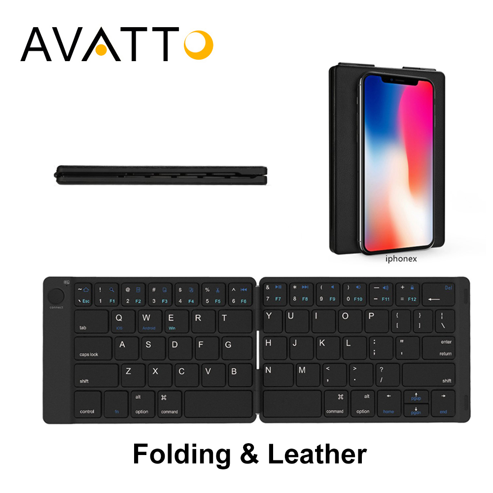 AVATTO Hebrew/English Classical Leather Case Portable & Folding Bluetooth Mini Keyboard for Android iOS Windows Pad Tablet Phone
