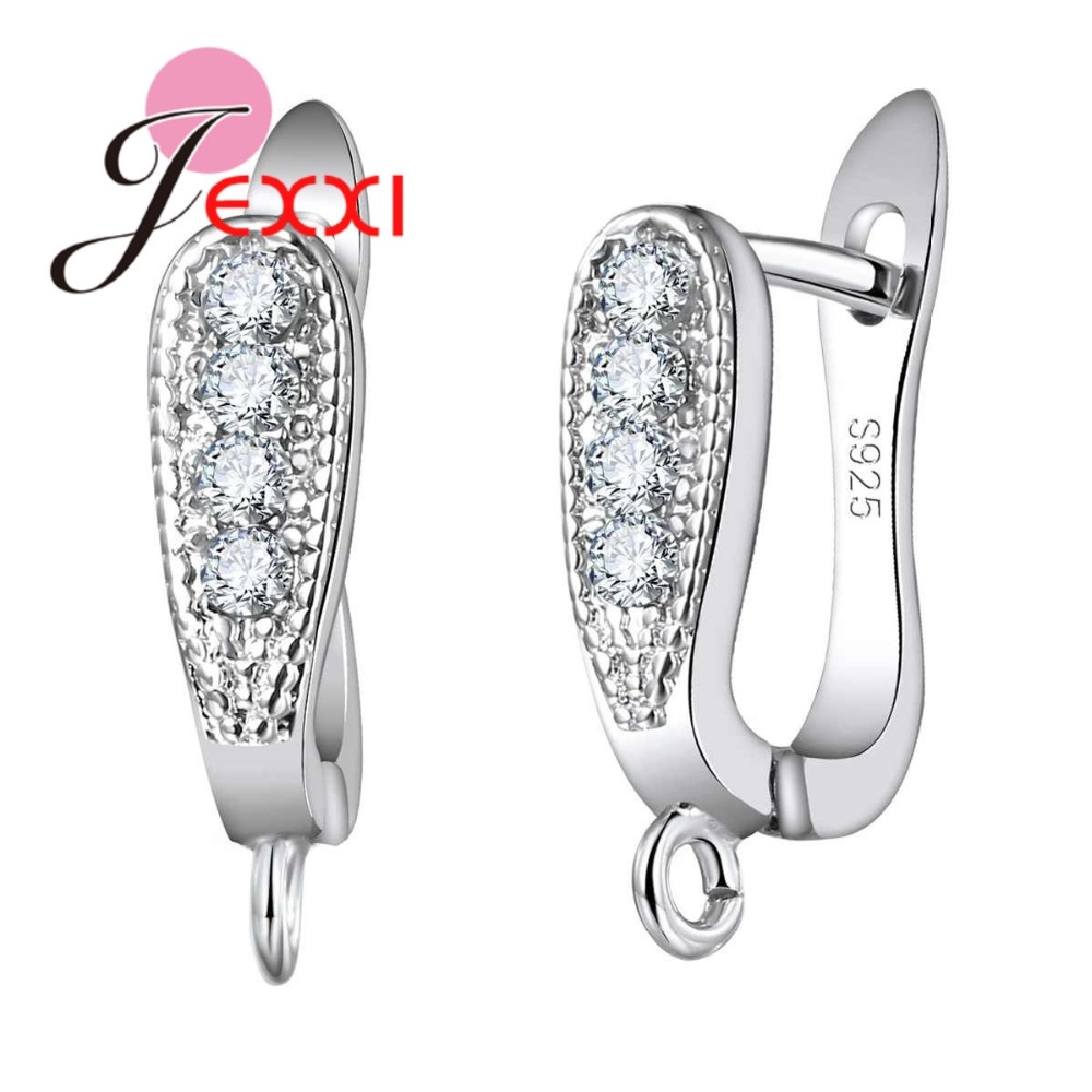 Elegant White Crystal 925 Sterling Silver Clasps Earring DIY Findings For Women Clearly Zircons Wholesale Top Quality