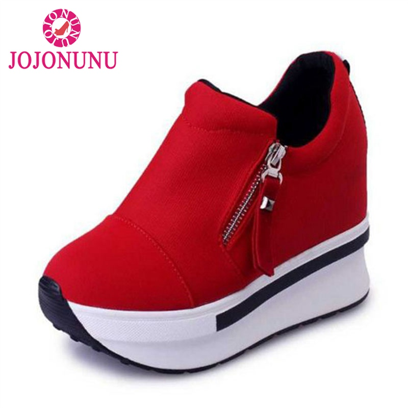 JOJONUNU Women Spring Autumn Fashion Platform Shoes With Zip Casual Sweet Sneakers Shallow Women Shoes Size 35-40