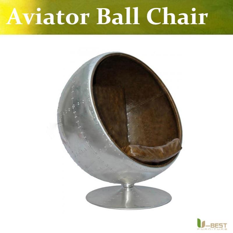 U-BEST Aviator Ball chair aluminium,Fiberglass aluminium plated swivel 360 degree  with real leather Upholstery