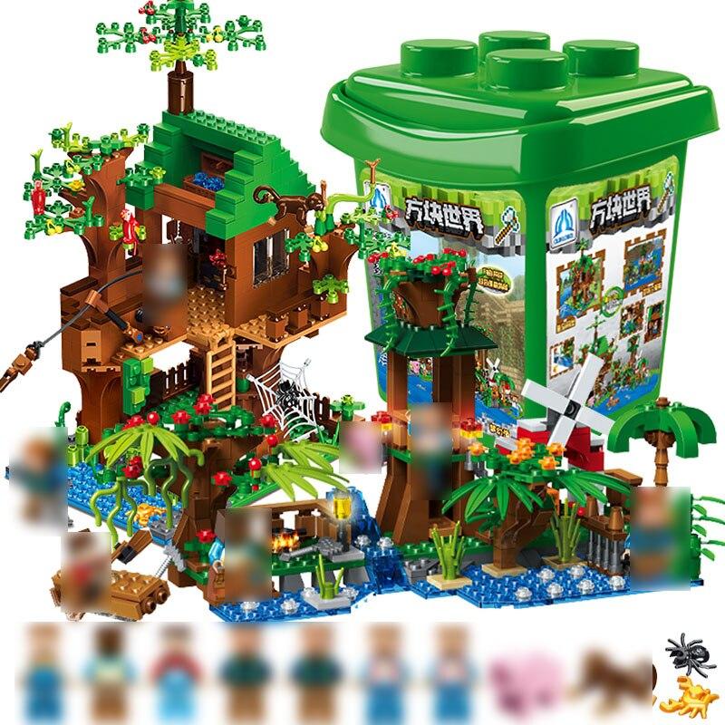 Blocs de construction Avec Boîte De Rangement Pour Enfants DIY Éducatifs Produit 859 PCS Forêt Série Briques