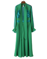 New Chiffon Dress Pure Color Lace Stitching Long Sleeve Green E1074 Bind Bow Long