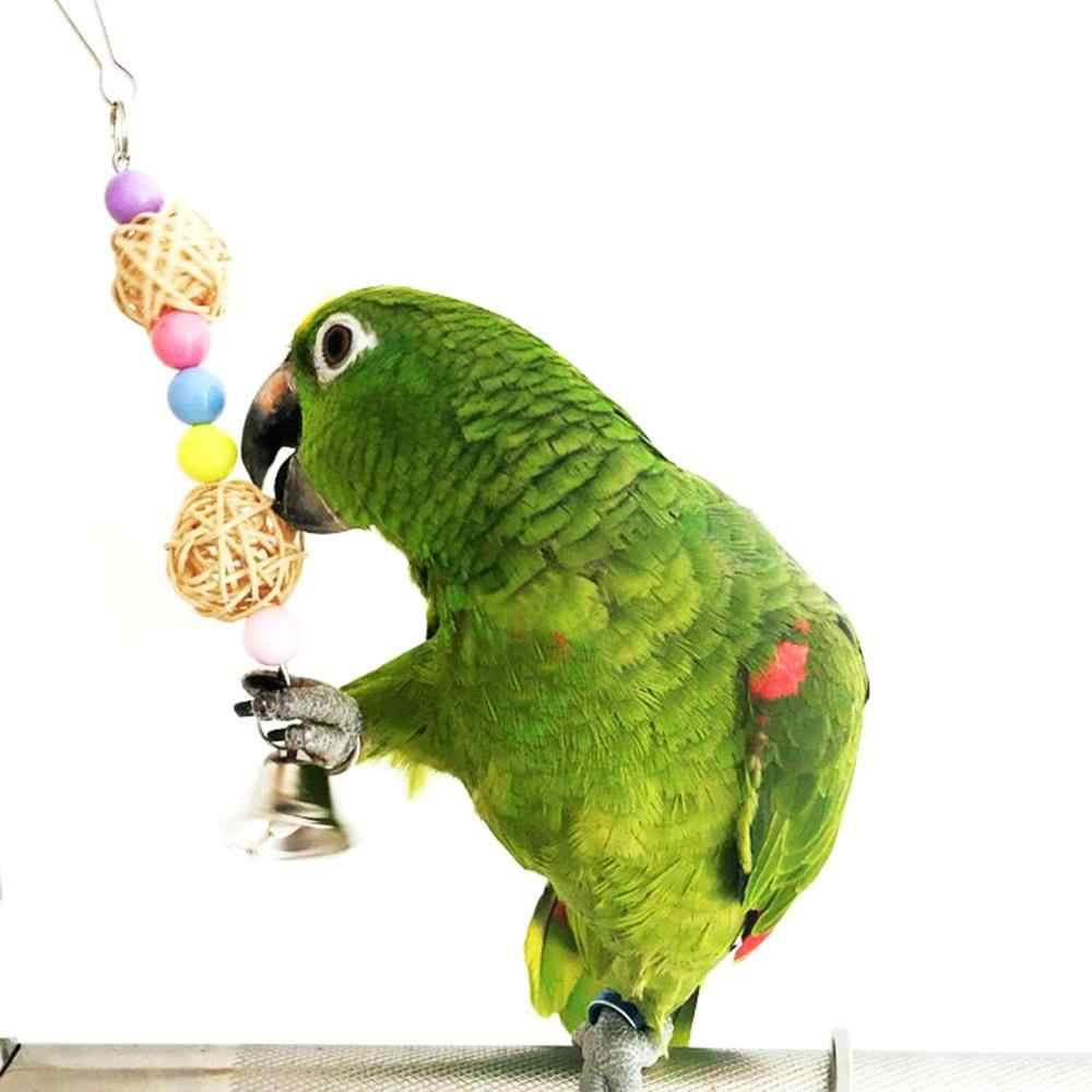 5pcs Giocattolo Parrot Uccello Gabbia Altalena Amaca Pet Uccello Appeso Campana Appesa Giocattolo Macaw Parrot Amore Uccello Fringuelli Brids forniture giocattolo