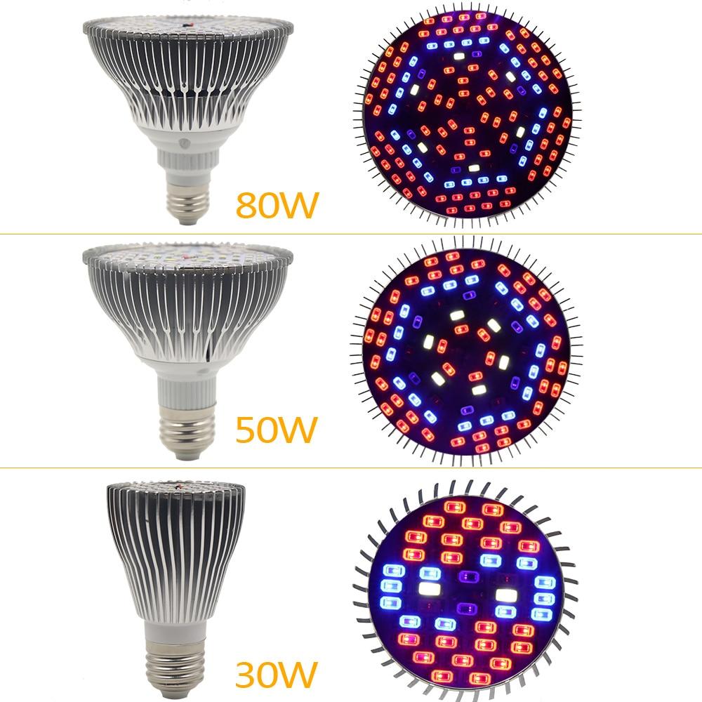 30W / 50W / 80W Led Grow Light Full Spectrum UV + IR E27 Grow Light - Професионално осветление - Снимка 4
