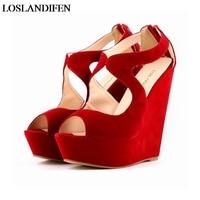 White Red Gladiator Flock Sandals Big Size Women Wedge Designer Shoes High Quality Platform Sandal Woman