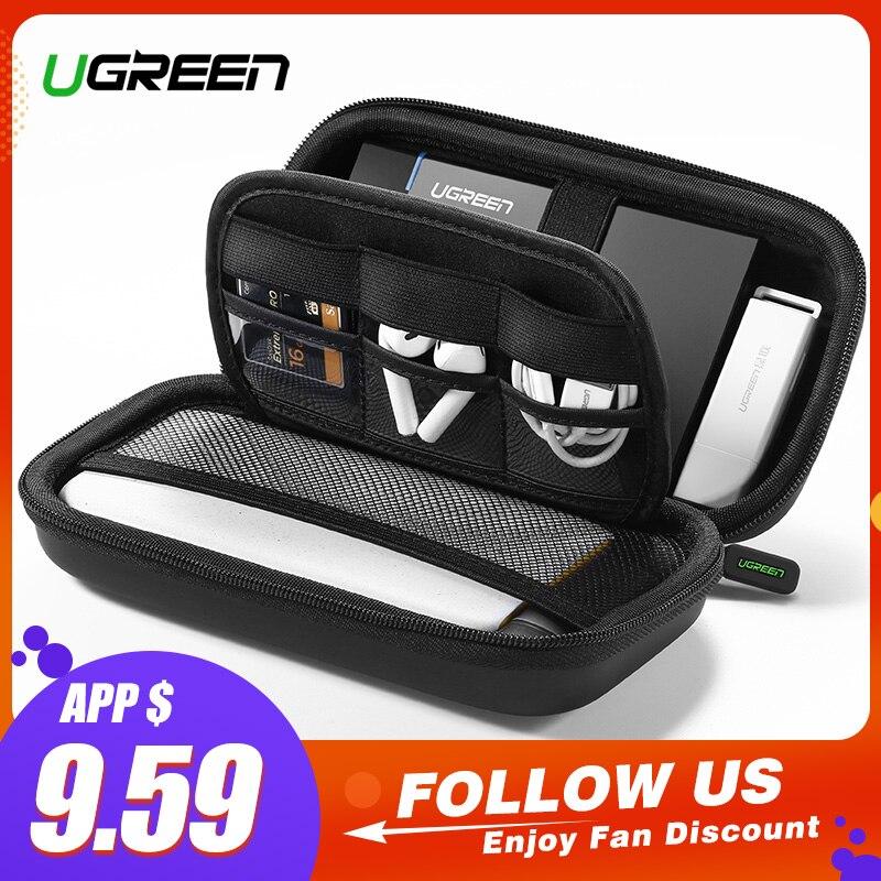 Ugreen Power Bank caja de la caja dura para el disco duro 2,5 USB Cable de almacenamiento externo que lleva la caja del disco duro SSD