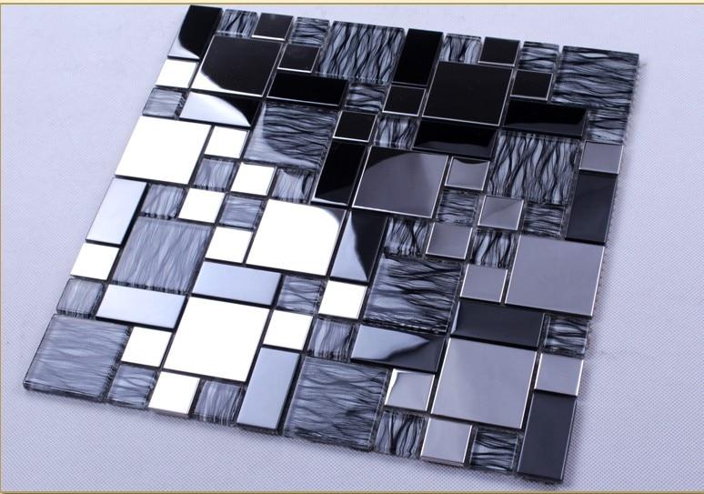 Stainless Metal Grey Crystal Glass Mosaic tile kitchen backsplash TV ...