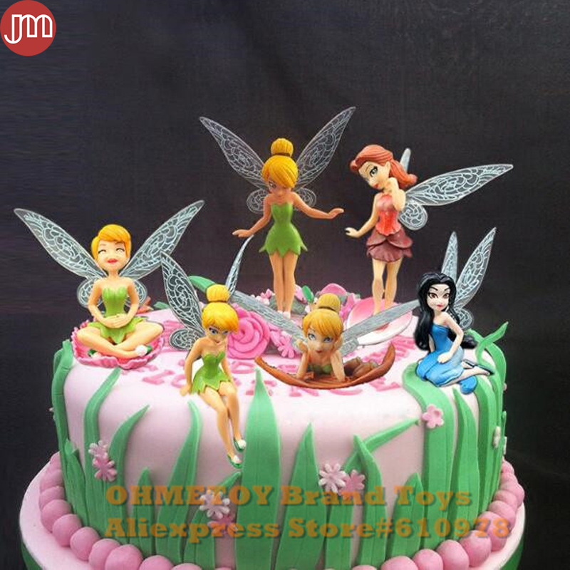 New 6pcs Tinkerbell Toy Tinker Bell Playset Dolls Flying Fairy