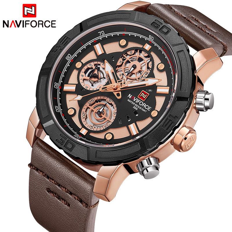 NAVIFORCE Luxury Brand Men Leather Quartz Watch Men's Waterproof Military Sport Watches Male Date Week Clock Relogio Masculino 2018 men watch brand guanqin quartz watches week date waterproof sport casual clock leather strap wristwatches relogio masculino