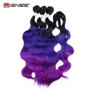 Image 4 - Длинные волнистые волосы Wignee с закрытием, термостойкие вьющиеся волосы, цветные фиолетовые/серые синтетические волосы для женщин