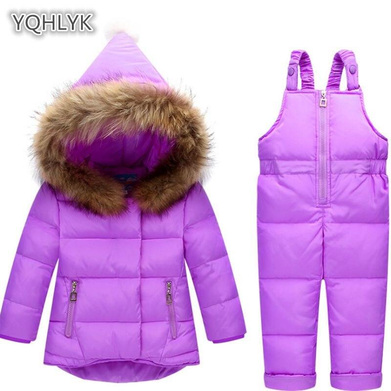 Russian children winter suit snow set jacket pants 2pcs baby girl duck long coat fur animal hoodie jacket children anti-snow set carter s 2pcs baby children kids french terry hoodie