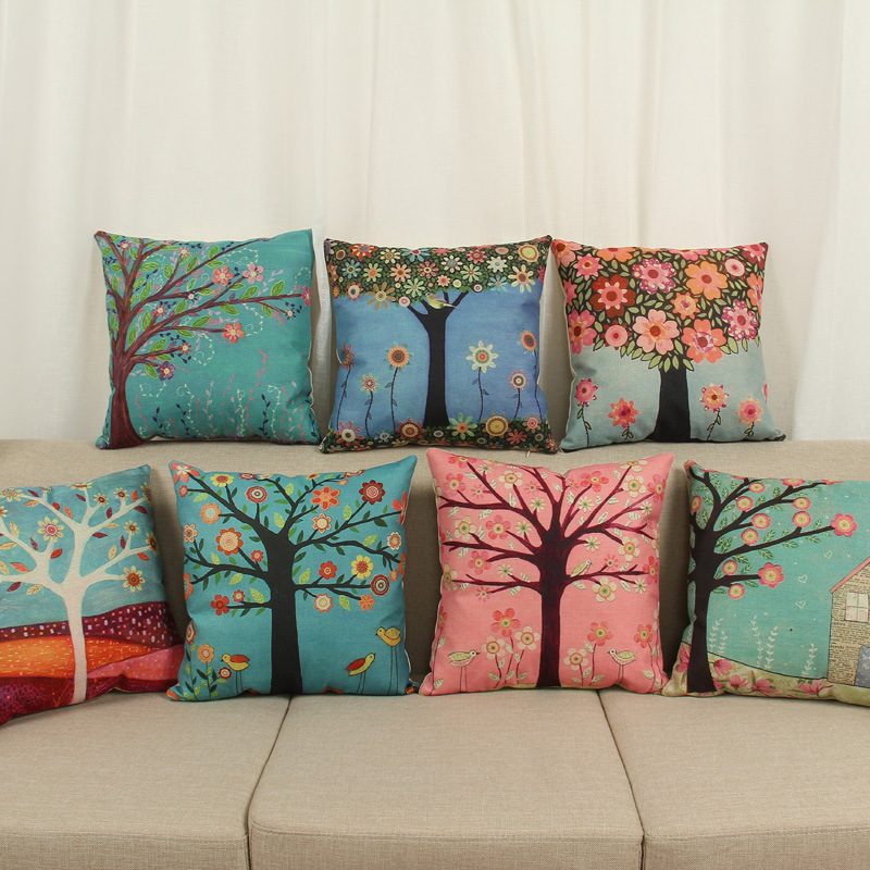 On sale Painting trees Cushion Cover For Sofa Home Decor Almofadas Decorative Throw Pillows Case Colorful trees pillowcase
