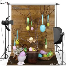 Happy Easter Vinyl Photography Background Backdrop For Newborn Wood Wall Egg New Fabric Flannel Backdrop For photo studio 252