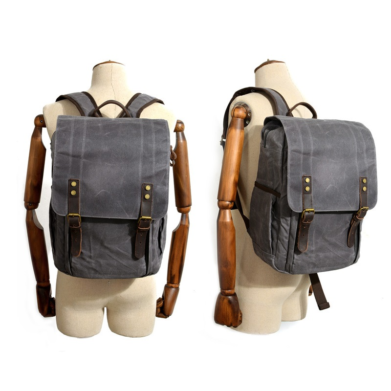 39057fe41 Melodycollection Men Laptop Backpack Waterproof Travel Schoolbag  Multifunction Wax Canvas Large Capacity Rucksack School Bags-in Backpacks  from Luggage ...