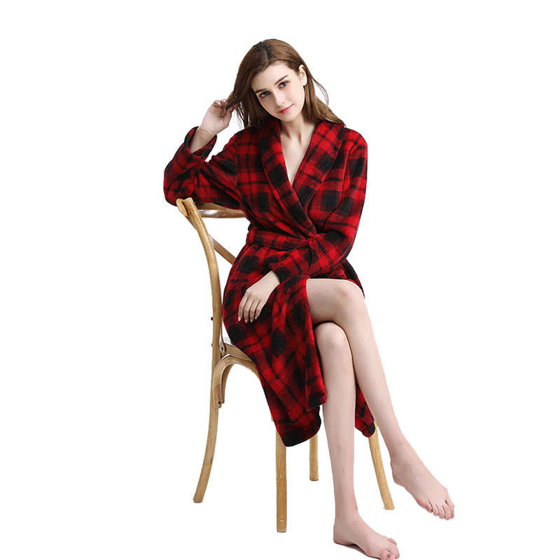 2018 New Women Thickening Warm  Plaid Flannel Robe bathrobe Long Kimono Bath Robe Winter Peignoir Dressing Gown Casual Robes