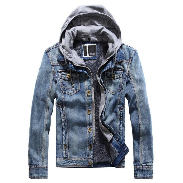Mens Hooded Denim Jacket Brand Designer Jackets Winter Fleece ...