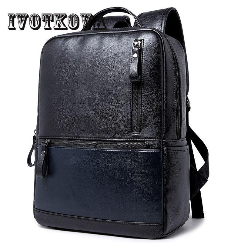 IVOTKOVA Fashion Men Black Backpack Leather Bag Men Travel Backpack Laptop Famous Brands High Quality Male Backbag