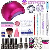 EVEREYA nail art set UV LED LAMP Dryer & 6 Color Gel Nail Polish Set kit Nail Tools Gel Varnish lacquer manicure tools kit