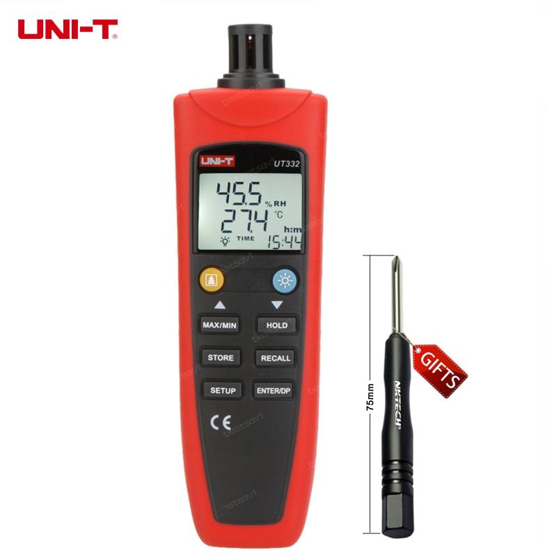 UNI-T UT332 Digital Thermo-hygrometer Thermometer Temperature Humidity Moisture Meter Sensor w/USB & Power Saving Mode portable digital uni t ut332 thermometer usb data transfer humidity