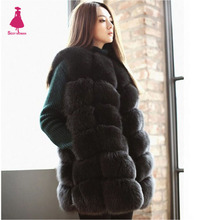 FIRSTTO Faux Fox Fur Long Vest Sleeveless Jacket Coat Furry Long Hairy Shaggy Outwear Women's Waistcoat Coat Super Quality