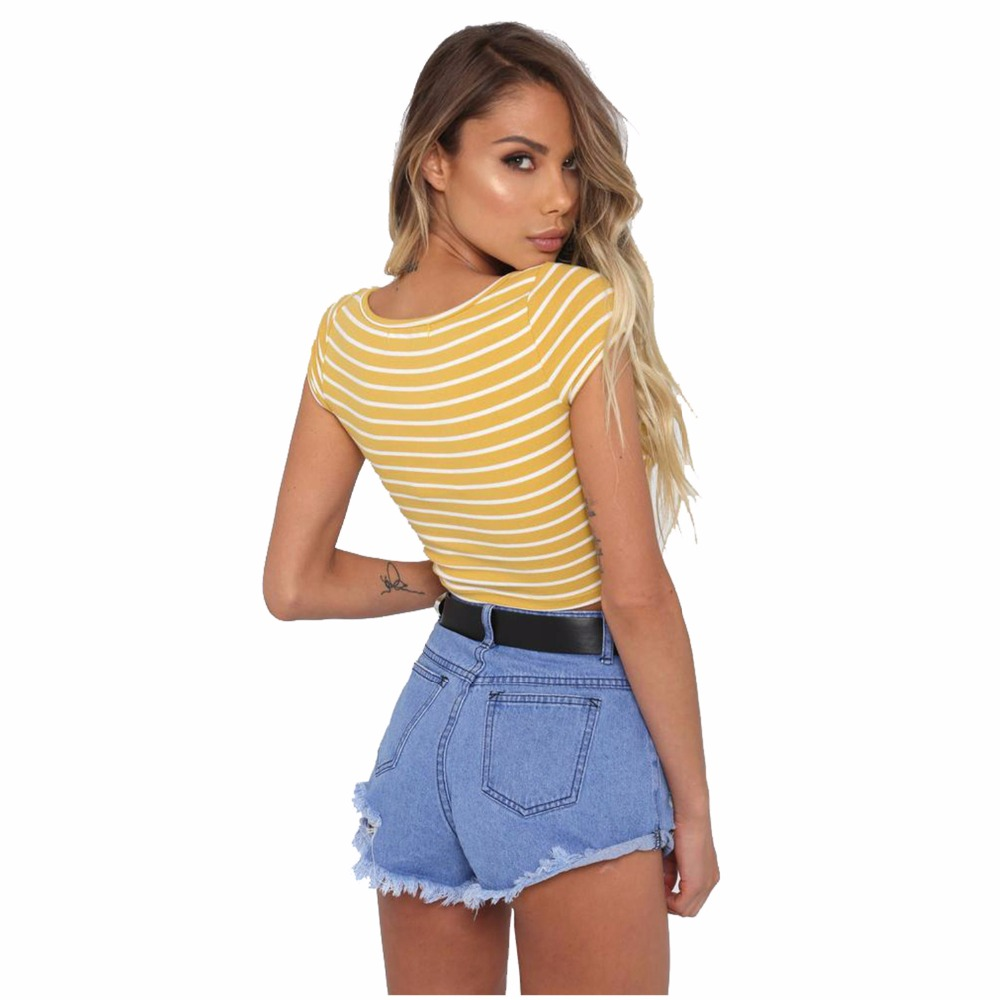Summer Italy new hot fashion personality short section stitching stripes sexy Slim female T shirt in T Shirts from Women 39 s Clothing