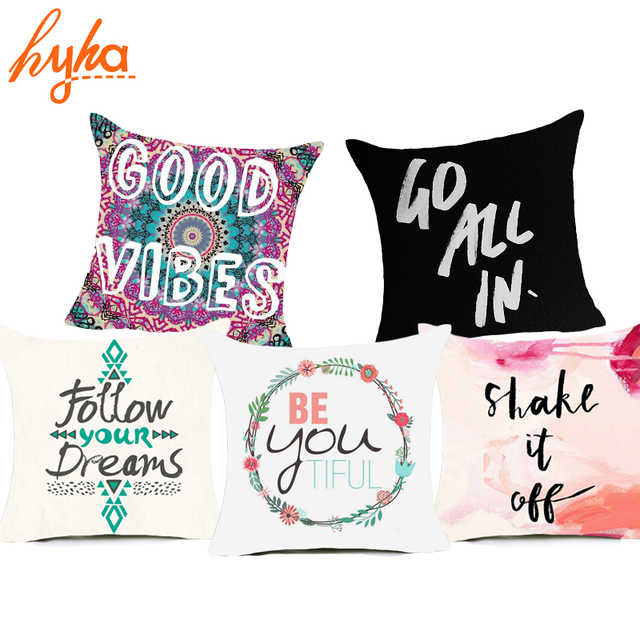 Hyha Proverb Letter Polyester Cushion Cover Funny Words Black And White Pillow Case Home Decorative Pillows Cover For Sofa Car