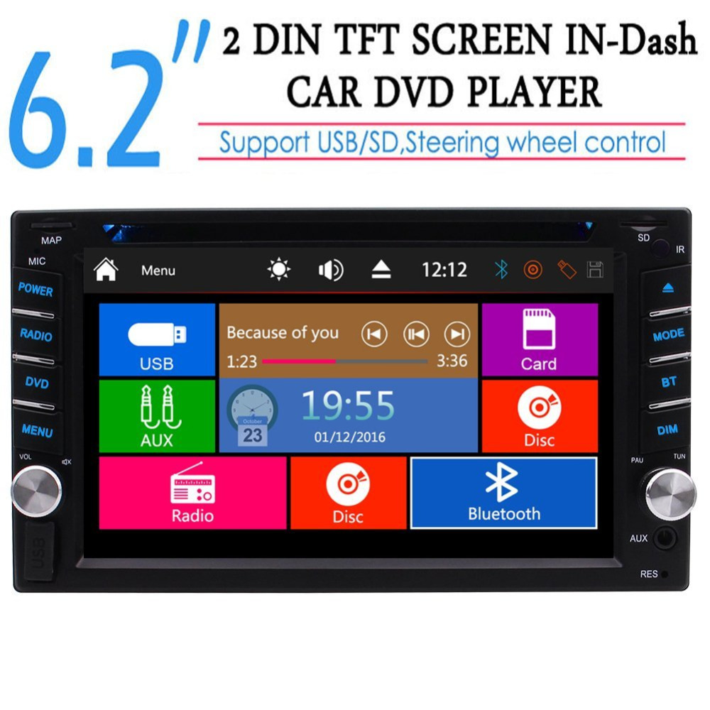 Car Autoradio 2 din Radio Receiver Head unit Double Din Car Stereo DVD Player 6.2'' In Dash USB/SD/Cam-in/Bluetooth Steering cimiva 6 2 inch tft audio dvd sb sd bluetooth 2 din car cd player with automatic memory play car dvd player 12v