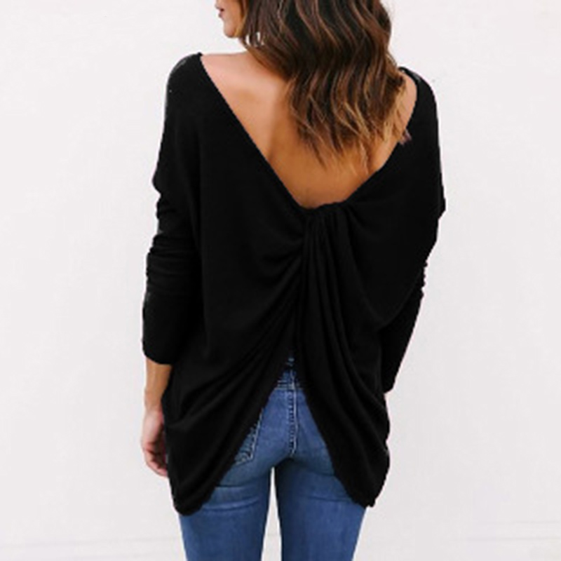 ELSVIOS Sexy Backless Cross Irregular Knitted Sweaters Casual O Neck Long Sleeve Pullover Sweater Women Jumper Autumn Tops S-3XL