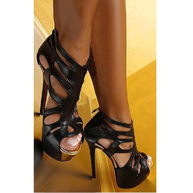 1d8516bb9640 Black Sandal Heels Sexy High Heels Sandals Platform Zip Hollow Out Party  Femme Shoes Fashion Evening Dress Shoes 16cm Black Shoe