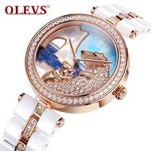 OLEV Oso Polar Ladies Relojes de Cuarzo Micro Pave Zircon Mujeres Del Reloj de Cerámica Reloj de Esfera de Oro Impermeable Relojes Femeninos L134