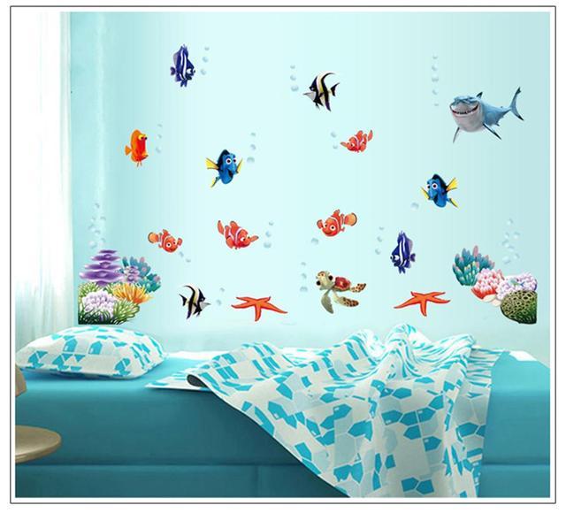 New Fish Seabed NEMO Wall Sticker Cartoon Wall Sticker Decor Removable Vinyl Nursery Kids Room Decals