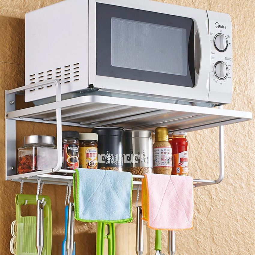 microwave oven storage rack stand 2 layer wall microwave oven holder shelf space aluminium frame wall mounted kitchen bracket