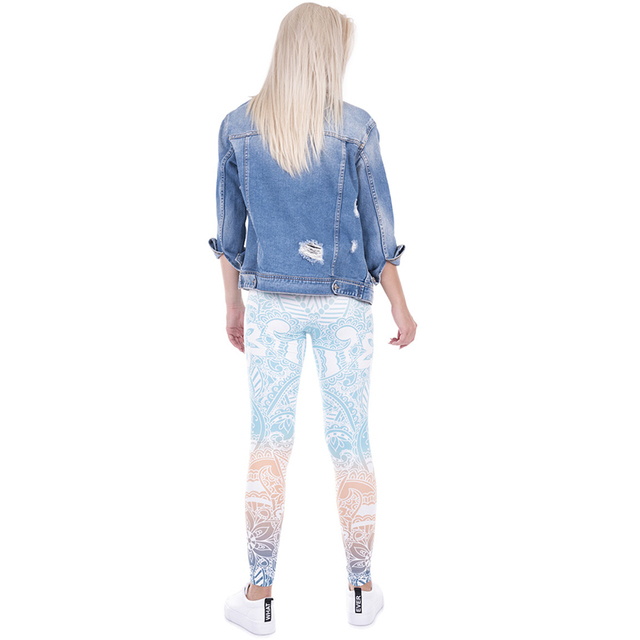 2017 Women Skinny Ombre Leggins Funny Basic Casual Fit Leggings MANDALA Printed Slim Pants Multico ruch obcisLe leg High Waist
