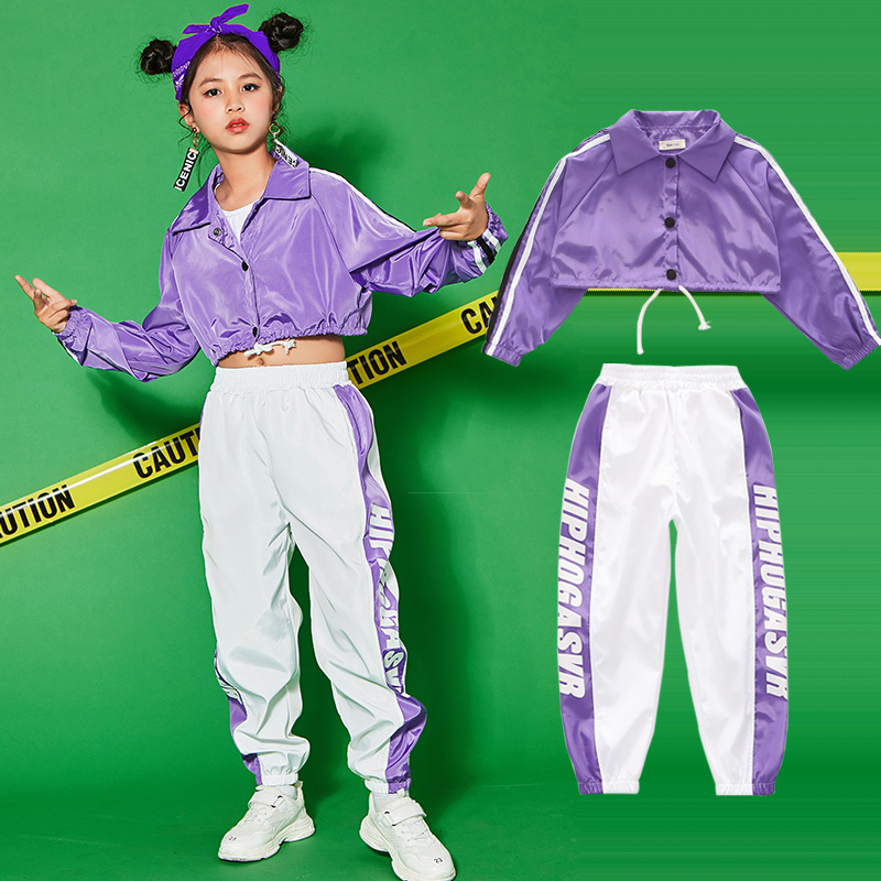 Hip Hop Dance Costume For Girls Jazz Dance Costumes School Performance  Sport Street Clothing Kids Stage Dance Costume BL1265