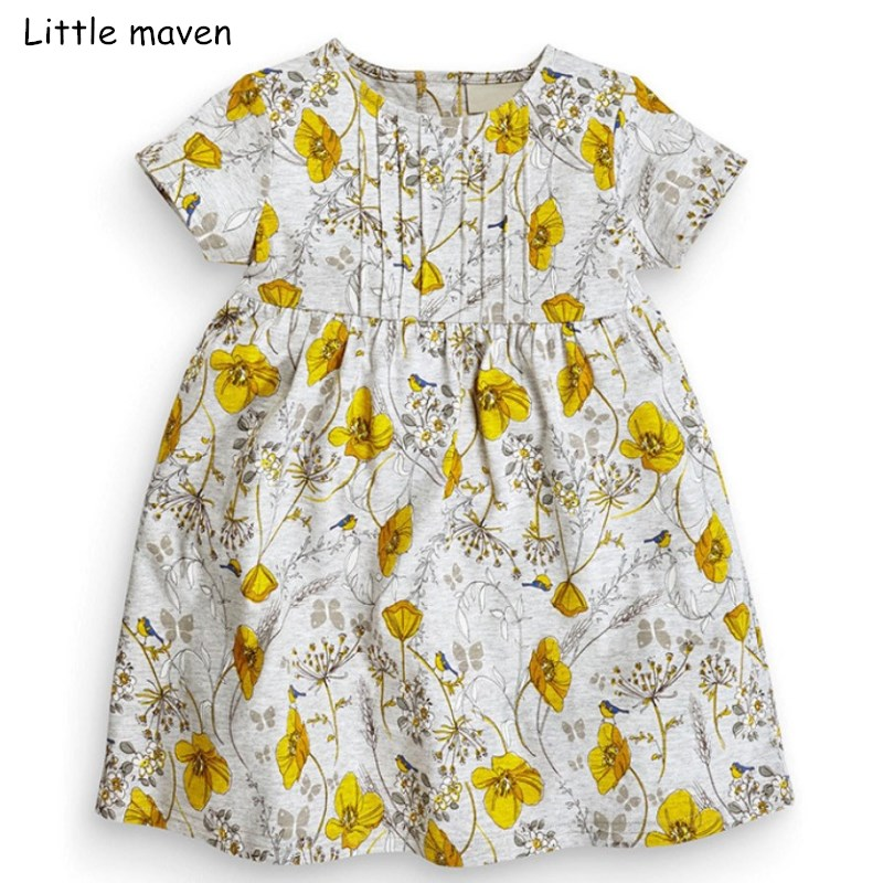 Little maven 2018 new summer baby girls brand dress kids Cotton floral short sleeve dresses S0312