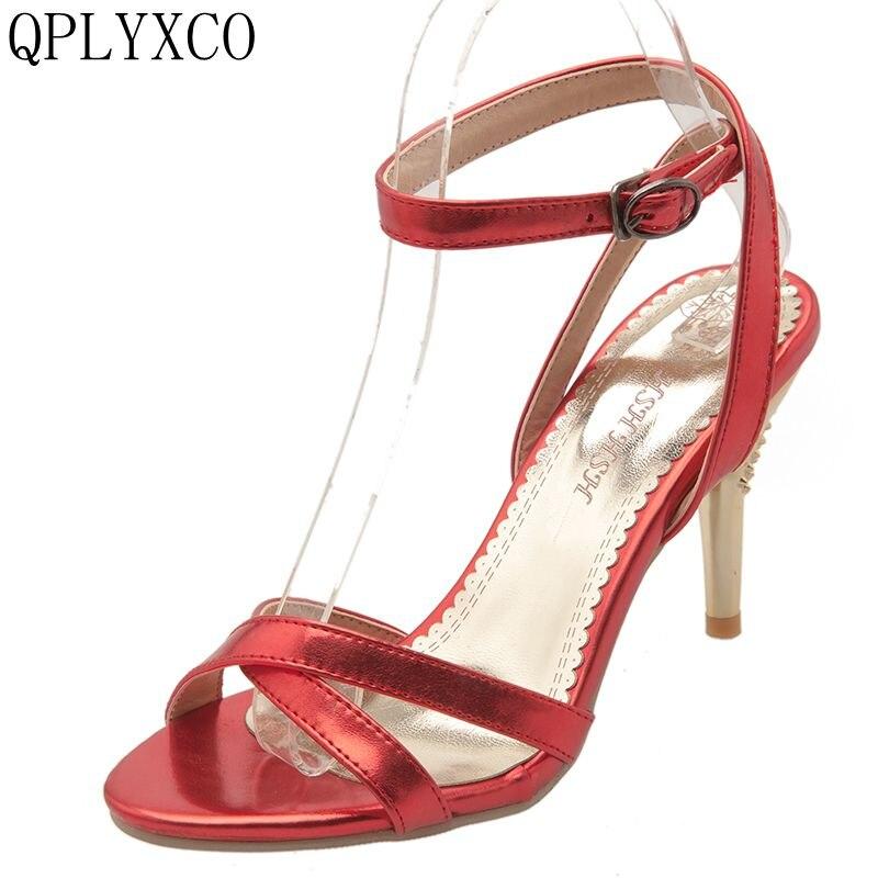 QPLYXCO New Elegant fashion Big size 32-47 Summer stlye Sandals Dancing High Heels Pumps Party wedding Dress shoes woman 4983-2
