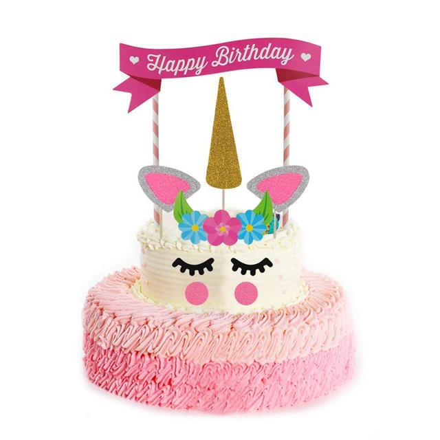 11 Pcs Unicorn Birthday Cake Topper Set Decor For Decoration Ears Flowers Single Corner Banner Pink Gold Party