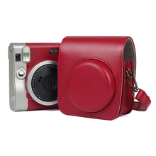 Classic PU Leather Camera Case Protective Camera Bag Compatible For Fujifilm Instax Mini 90 With Shoulder Strap Instax Case Red цена 2017