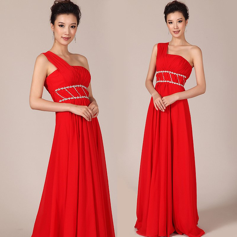 New Floor-length Red Chiffon Beaded Long Formal Evening   Dress   Corset   Prom     Dresses   Lace Up Back HU079